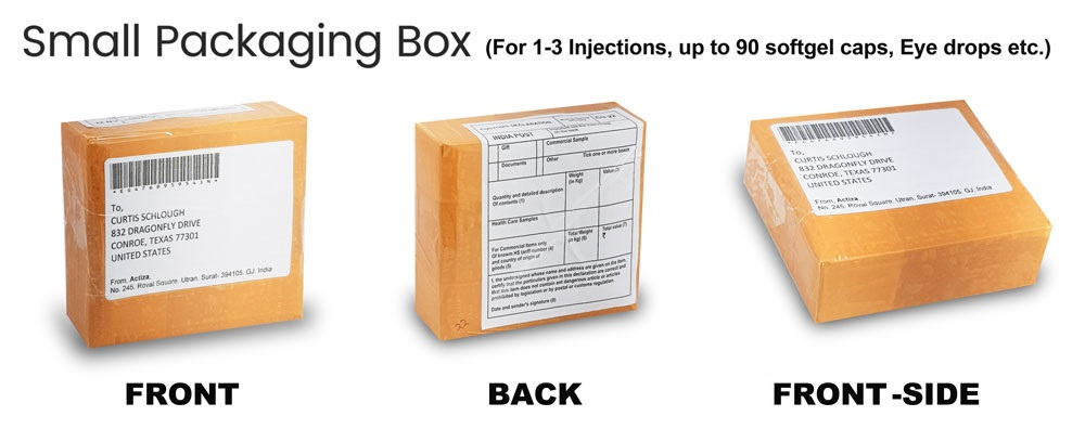 Small Packaging Box (For 1-3 Injections upto 90 Softgel cap,Eye Drop etc)